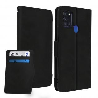 Samsung Galaxy A21s Klappetui mit Geldbörse + abnehmbares Kartenfach ? Schwarz