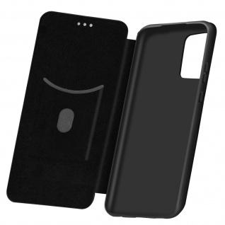 Samsung Galaxy A72 Klappetui, Cover mit Carbon Design & Ständer - Schwarz