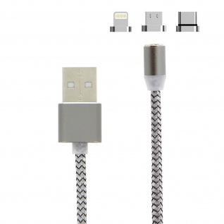 Magnetisches Kabel USB zu Lightning/USB-C/Micro-USB Laden - Silber