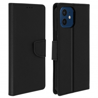 Fancy Style Cover Apple iPhone 12 Mini, Fach und Standfunktion - Schwarz