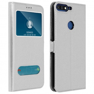 Honor 7C/Huawei Y7 2018 Flip Cover Doppelfenster & Standfunktion - Silber