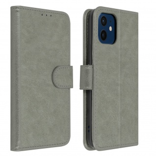 Flip Cover Geldbörse, Klappetui Kunstleder für Apple iPhone 12 Mini ? Grau