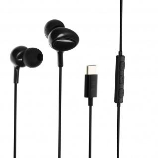 USB-C kabelgebundene Stereo Kopfhörer mit Fernbedienung + Mikrofon - Schwarz
