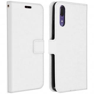 Flip Cover Stand Case Brieftasche & Standfunktion für Huawei P20 - Weiß