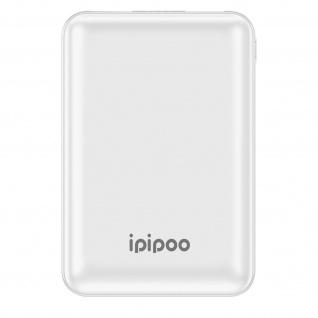 10.000mAh LP-1 Powerbank mit 2x USB-Ports / 1x USB-C Anschluss, Ipipoo - Weiß