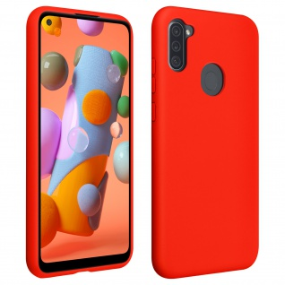 Halbsteife Silikon Handyhülle für Samsung Galaxy A11 / M11, Soft Touch - Rot