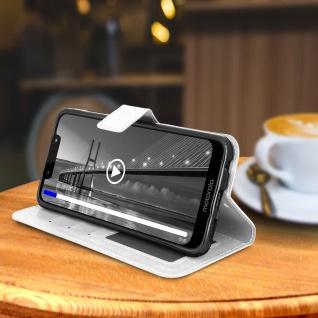 Flip Stand Cover Brieftasche & Standfunktion für Moto G7, Moto G7 Plus - Weiß - Vorschau 4