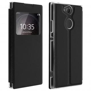 Sony Xperia XA2 Flip Cover Sichtfenster & Kartenfach Schwarz � Standfunktion