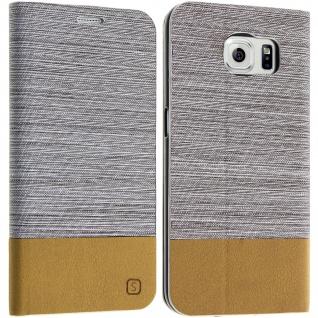 Samsung Galaxy S6 Flip-Cover Brieftaschenstil Kartenfach - Denim Beige