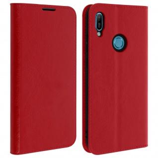Business Leder Cover, Schutzhülle mit Geldbörse Huawei Y6 2019 - Rot