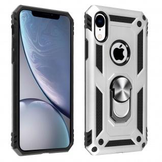 Hybrid Handyhülle mit Ring Halterung für Apple iPhone XR - Silber