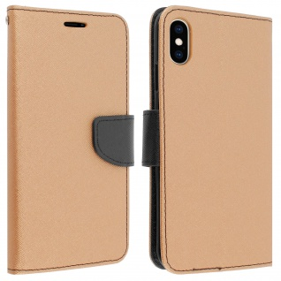 Fancy Style Cover Apple iPhone XS Max, Fach und Standfunktion - Gold