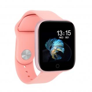 Bluetooth Smartwatch und Fitnesstracker Androit / iOS IP67 Wasserdicht, rosa