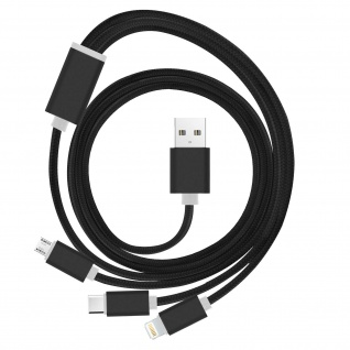 USB 1.2m Multi-Ladekabel: 1x Apple Lightning + 1x Micro-USB + 1x USB-C