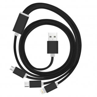 USB 1m Multi-Ladekabel: 1x Apple iPhone/iPad + 1x Micro-USB + 1x USB-Typ C