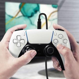 USB auf 2x USB-C PS5 / Xbox / Smartphone Controller Kabel - Schwarz - Vorschau 4