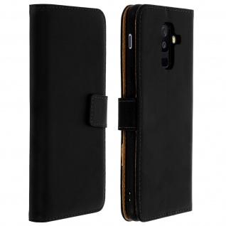 Galaxy A6 Plus Cover aus Echtleder mit Standfunktion & Kartenfach - Schwarz