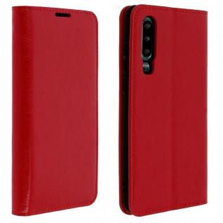 Business Leder Cover, Schutzhülle mit Geldbörse für Huawei P30 - Rot