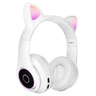 Katzenohren kabellose 5.0 Bluetooth Kopfhörer, Kitty Headset ? Weiß