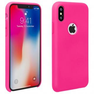 Halbsteife Silikon Handyhülle Apple iPhone X, iPhone XS, Soft Touch - Rosa