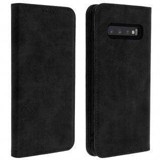 Flip Cover Geldbörse, Kunstleder Klappetui für Samsung Galaxy S10 Plus - Schwarz