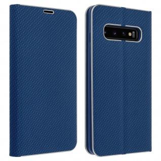 Samsung Galaxy S10 Klappetui, Cover mit Carbon Design & Ständer - Dunkelblau