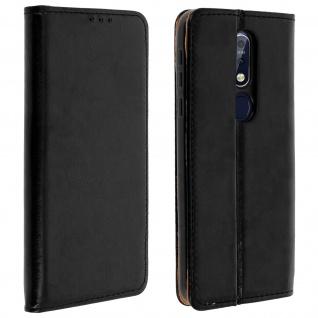 Nokia 7.1 Cover aus Echtleder mit Standfunktion & Kartenfach - Schwarz