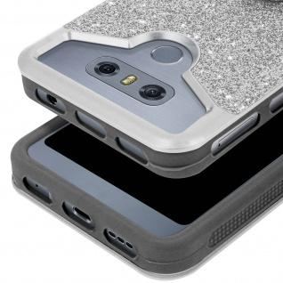 Glitter Handyhülle mit Ring Halterung für 5.3 - 5.6 Zoll Smartphones - Silber