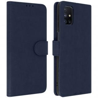 Flip Cover Geldbörse, Etui Kunstleder für Samsung Galaxy M51 ? Blau