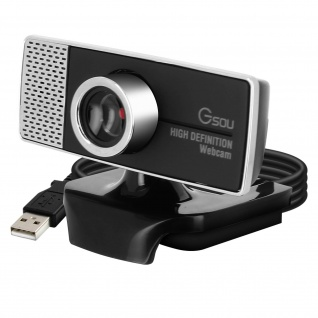 Webcam USB 720p HD Rauschunterdrückung Mikrofon 45° drehbarer Kopf - Schwarz
