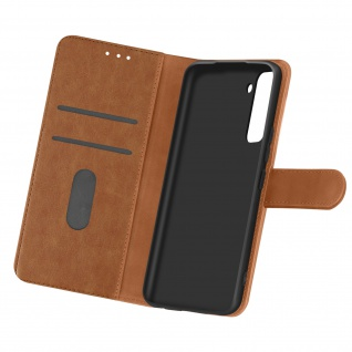 Flip Cover Geldbörse, Etui Kunstleder für Samsung Galaxy S21 ? Braun