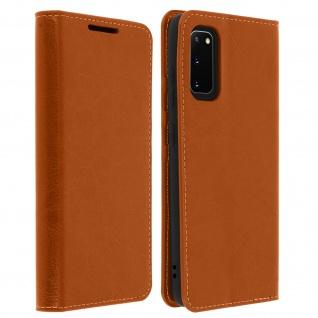 Business Leder Cover, Schutzhülle mit Geldbörse Samsung Galaxy S20 - Hellbraun