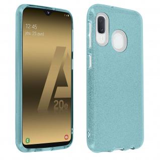 Schutzhülle, Glitter Case für Samsung Galaxy A20e, shiny & girly Hülle - Blau