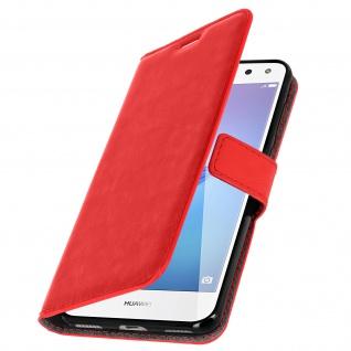 Flip-Cover Stand Case Brieftasche & Standfunktion für Huawei Y6 2017 - Rot