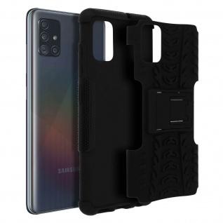Stoßfeste Schutzhülle + Standfunktion für Samsung Galaxy A71 - Schwarz