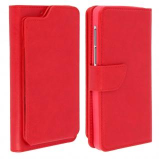 Universal Flip Cover Mit Visitenkartenetui Für 5 5 6 0 Smartphones Rot