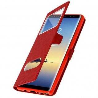 Galaxy Note 8 Flip-Schutzhülle mit Doppelfenster und Standfunktion - Rot