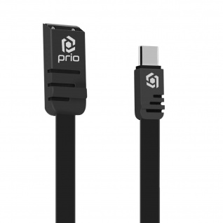 Schwarzes Prio 1m flaches Silikon USB auf USB-C Lade-/Datenkabel