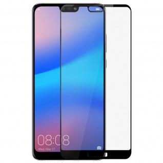 Gehärtetes Glas Displayschutzfolie stoßfest für Huawei P20 Lite - Rand Schwarz