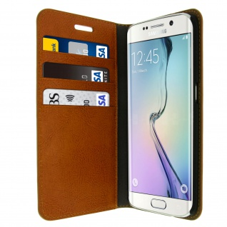 Galaxy S6 Edge Flip-Schutzhülle aus Echtleder im Brieftaschenstil - Braun - Vorschau 1
