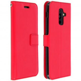 Flip Cover Stand Case Brieftasche & Standfunktion Samsung Galaxy A6 Plus - Rot