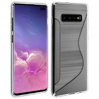 Backcover Samsung Galaxy S10 Plus S-Line Silikonhülle, Carbon Optik - Weiß