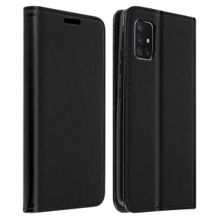 Wallet Cover für Samsung Galaxy A51 5G, Kartenfach und Ständer ? Schwarz