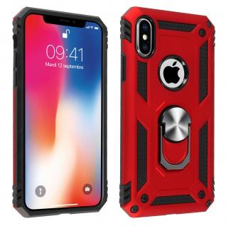 Hybrid Handyhülle mit Ring Halterung für Apple iPhone X, iPhone XS - Rot