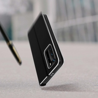 Huawei P40 Pro Klappetui, Cover mit Carbon Design & Ständer ? Schwarz - Vorschau 5