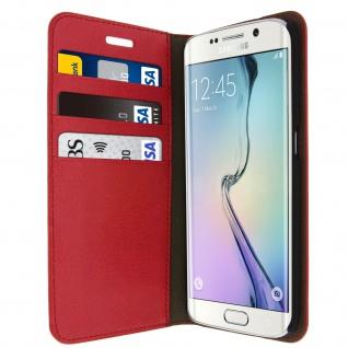 Samsung Galaxy S6 Edge Flip-Schutzhülle aus Echtleder im Brieftaschenstil - Rot