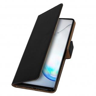 Samsung Galaxy Note 10 Cover aus Echtleder mit Standfunktion- Schwarz - Vorschau 2