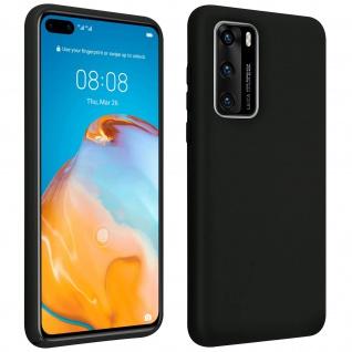 Halbsteife Silikon Handyhülle Huawei P40, Soft Touch - Schwarz