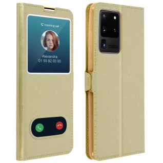 Samsung Galaxy S20 Ultra Flip Cover Doppelfenster & Standfunktion - Gold