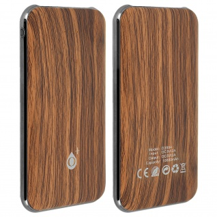 Dual 2.1A USB Powerbank, 10 000mAh Holz Akku mit LED-Anzeige - Dunkelbraun